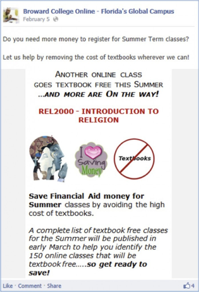 Save Money with textbook free classes