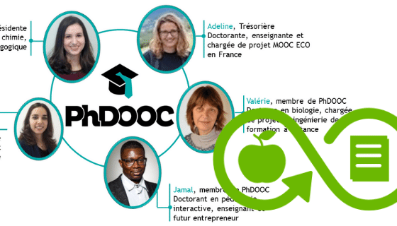 Fotos de 5 personas en un círculo alrededor del nombre PhDOOC; y un ícono color verde con el símbolo de infinito, una manzana y un cuaderno.
