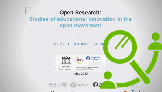 Screenshot of a website stating: Open Research, studies of educational innovation in the open movement. A green icon with a magnifying glass and two silhouettes.