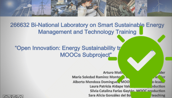 Screenshot of a website with the title: Open innovation, energy sustainability.... A green icon with a lightbulb and a check mark.