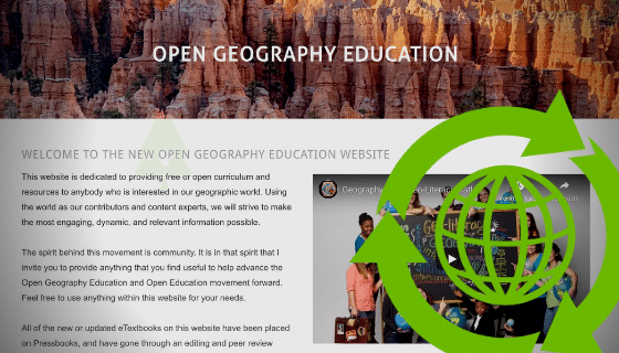 Screenshot of a website with title Open Geography Education