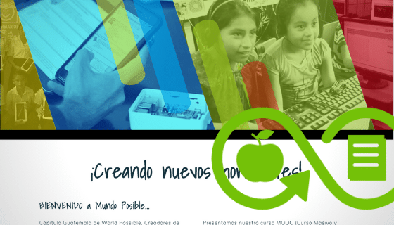 Screenshot of website with the title '¡Creando nuevos horizontes!'; and a green icon with the infinite symbol, an apple and a notebook.