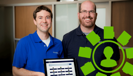Two men holding a laptop and smiling; a green icon with the silhouette of a person and folder surrounding it.